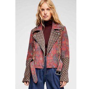 Free People Prairie Rose Leather Moto Jacket XS